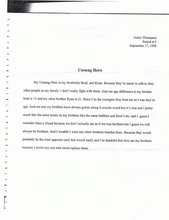 Justin Thompon's paper on his Unsung Hero